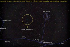 2018.12.17 11 PM - 70mm - Passing by M45 Pleiades in Taurus (kenneth.limTX) Tags: comet 46p wirtanen taurus auriga m45 pleiades hassaleh ain cleeia hyadum