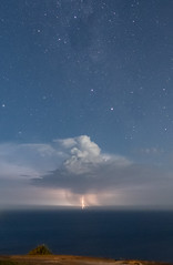 Between heaven and ocean (nightscapades) Tags: alphacentauri astronomy astrophotography betacentauri crux lightning nightscapes pointers southerncross stanwellpark stanwelltops stars storm weather wollongong