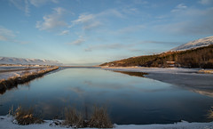 January morning (joningic) Tags: akureyri winter eyjafjörður eyjafjarðarsveit iceland water pond reflection january 2019 sky snow sun landscape