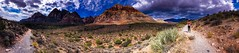 Panoramic View Of Red Rock Canyon, Las Vegas, Nevada (Seymour Lu) Tags: phone apple iphone7 iphone faraway america unitedstates usa photography life isolated hidden nevada lasvegas traveling places nature beauty love wide clouds desert vegetation roads panoramic paths hiking travel landscape mountains rocks hills redrock canyon rock red