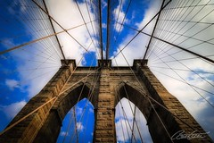 Brooklyn Bridge (corineouellet) Tags: canonphoto canon pointofview pointdevue pov upinthesky lookup architecture city travel cloudy cloudysky clouds bluesky brooklyn brooklynbridge bridge newyorkcity newyork nyc