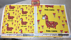 """Dala Llama"", large and small scale 8x8 inch fabric test swatches.  My original design hand drawn digitally. (sassyone2013) Tags: llama llamas alpaca alpacas animal animals fabric fabrics textile textiles drawing illustration swedish swedishfolkart sweden dala dalahorse yellow red whimsical cute kawaii fun pun puns funny quirky illustrations drawings kids children sewing quilting digitalart"