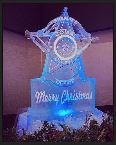 Merry Christmas to the Comal County Sheriff's office! #fullspectrumice #holiday #icesculpture #thinkoutsidetheblocks #brrriliant - Full Spectrum Ice Sculpture