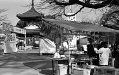 Stalls in a temple precinct (odeleapple) Tags: voigtlander bessa r2m carl zeiss planar 50mm kodak400tx film monochrome analog bw temple stall