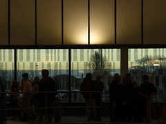 Window Shopping (Steve Taylor (Photography)) Tags: architecture window brown glass people newzealand nz southisland canterbury christchurch northnewbrighton trees lines glow silhouette