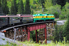 Bridging the Gap. (Infinity & Beyond Photography: Kev Cook) Tags: white pass yukon railroad railway train engine locomotives carriages bridge skagway alaska rail tracks photos