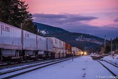 Meet at Naples, ID (evanlofback) Tags: railroadbnsf kootenairiversub intermodal naples meet cloudy winter snow sunset mountains