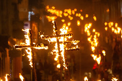 Burning Crucifixes at Lewes Bonfire Celebration (lomokev) Tags: file:name=1811055dmrk31143 sussex lewes 5thnovember fifthnovember bonfirenight guyfawkesnight fire torches torch jumper firelight parade lewesbonfire canoneos5d canon eos 5d crucifix cross burning heat southoverbonfiresociety