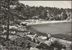 Postkort fra Agder (Avtrykket) Tags: strand badende hus postkort sjø strandhus strandliv svaberg grimstad austagder norway nor