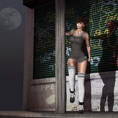 Headlights (Jenn.Flanagan) Tags: firestorm secondlife secondlife:region=lunatica secondlife:parcel=backdropcitygrouponlyaccess secondlife:x=42 secondlife:y=129 secondlife:z=2035 lasirena meva realevilindustries astralia catwa unbra letre kaithleens kokolores petrymodel headlights avatar seethrough overknees socks undercut pierced tattoo tattoedgirl inked fullmoon