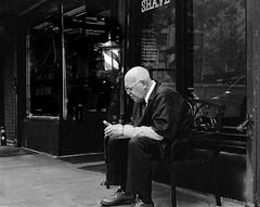 7th Av., New York, NY (Atget's Morning Light) Tags: 6min bw blackandwhite ei400 kodaktrix400iso400 leica50mmsummicron leicam4p tmax14 negative
