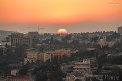 Jerusalem Skyline at sunset (antoniopuca) Tags: red orange jerusalem sunset holiday holiland skyline lines colors