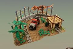 JP roller coaster - the T-Rex chase (Yatkuu) Tags: lego jurassicpark rollercoaster tyrannosaurusrex trex robertmuldoon elliesattler ianmalcolm lauradern bobpeck jeffgoldblum jeep wrangler galliminus