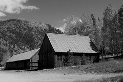 The Village Smithy (Patricia Henschen) Tags: chaffeecounty sawatch range mountains mountain aspen autumn fall color gold silver mine mines mining ruins ghosttown stelmo mtprinceton chalkcreek nathrop colorado canyon sanisabelnationalforest leafpeeping fallcolor county road backroad clouds countyroad162 blacksmith smithy chaffee monochrome blackwhite buildings