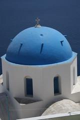 Blue Domed Church in Santorini / Църква със син купол в Санторини (mitko_denev) Tags: greece aegean islands гърция острови santorini fira thera blue dome church санторини църва купол