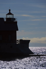 022688 The Business End (David G. Hoffman) Tags: lake lakemichigan lighthouse silhouettes channel pier