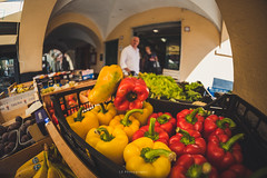 Your own special way (.KiLTRo.) Tags: it kiltro italy rapallo liguria italia city street pepper red yellow vegies vegetable color colour life people wideangle fisheye lens green dof