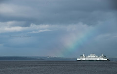 Rainbow Ferry (jeanmarie's photography) Tags: rainbow ferry ferryboat ship jeanmarieshelton nikon ocean water waterscape seattle washingtonstate sky clouds transportation weather