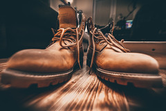 Ready for Winter (donnicky) Tags: brown closeup dof fashion floor indoors leather lowangleview menswear nopeople pair publicsec selectivefocus shoes stilllife two wideangle кеrr d850