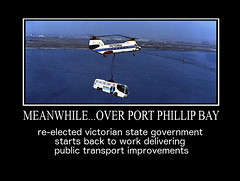 MEANWHILE...OVER PORT PHILLIP BAY (zero g) Tags: youonlylivetwice helicopter 2018victorianstateelection publictransport bus campaignbus alp lnp