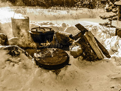 Dutch Oven Roast - Simply Winter (by Deborah K Photography) Tags: wood dustyroadphotos bushlife offgrid rurallife sepia wildernesslife vintage primitiveskills ruralliving ruralphotography dustyroadpics offgridlife disconnect bushskills simpleliving canada canons5 windfall thenorth minimumcolour cabin northtrappingandbushcraft castiron alberta canadian nopower deborahkphotography education offthegrid minimalism landscape monochrome winter trapping scenic firewood cabinlife lessstuff wildernessskills dutchoven firearm
