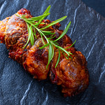 Meatloaf on table, closeup thumbnail