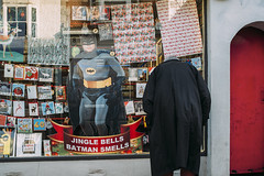 Even  batman hurts. (markfly1) Tags: jingle bells batman smells humour funny cape comic moment old school magazine christmas cards red yellow blue black wrapping paper decorations reflections candid image street photo colour color nikon d750 35mm manual focus lens