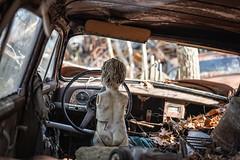 No pants, no shirt, no arms, no problem! (Frank C. Grace (Trig Photography)) Tags: abandoned decay rusty crusty cars trucks automobiles antique highdynamicrange urbex forgotten junkyard junkyarddawgs urbanexploration frankcgrace trigphotography on1pics fstopmafia doll creepy spooky dollparts
