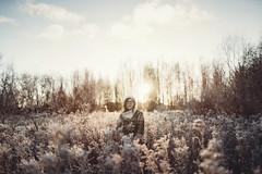 Winter sunrise (AlexanderHorn) Tags: winter portrait sunrise sunshine sony girl woman beautiful environmental field frost cold finland