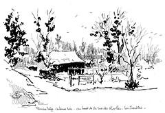 Les jardins au bout de la rue des Roches sous la neigne, à Acigné