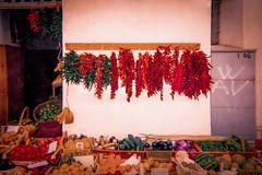Tutti frutti (o.solemio) Tags: photo n°471 minoosolemio bancone vendita ambulante frutta verdura ortaggi peperoncini cocomeri muro allaperto colore
