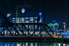 construction of the giants new outfield scoreboard (pbo31) Tags: bayarea california nikon d810 color night dark black january 2019 boury pbo31 sanfrancisco city urban missionbay construction scoreboard outfield sport baseball giants att park 3rd street bridge draw creek reflection lightstream motion traffic roadway