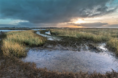 Sunset on a Cold, Bleak Day (andybam1955) Tags: quay landscape sunbeams morston clouds coastal morstonquay sky northnorfolk boats rural norfolk sea