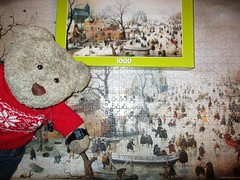 Dun it wiv time to spare! (pefkosmad) Tags: jigsaw puzzle hobby leisure pastime art painting fineart rijksmuseumjigsawpuzzlecollection 1000pieces complete used secondhand winterlandscapewithiceskaters hendrickavercamp winter december puzzelman landscape tedricstudmuffin teddy ted animal toy cute cuddly plush fluffy soft stuffed newyearseve