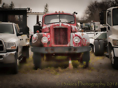 A Long Time Ago (HTT) (13skies (Physio)) Tags: happytruckthursday truck hauler big oldguy oldtruck heavyduty rig muscle htt fun power strong lights done truckthursday trucking sonya57 yard truckyard singleshothdr alone retired