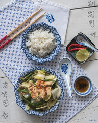 My lunch today... (odile lm) Tags: flatlay lunch rice chicken green beans chinese cabbage red pepper