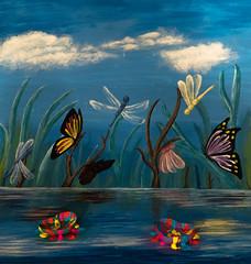 Colourful (ana_kapetan_design) Tags: colours hearts acrylic paint dragonfly butterfly watter water awardtree artdigital