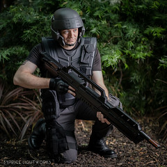 Starship Trooper (S1Price Lightworks) Tags: starship trooper mobile infantry troopers heinlein male cosplay cosplayer scifi bugs con convention fun jungle rifle 3d printed photography cosfun magfest 2019