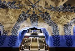T-Centralen (Douguerreotype) Tags: sverige steps blue tunnel symmetry tube art underground sweden urban stockholm tbana city escalator architecture tunnelbana metro stairs subway station