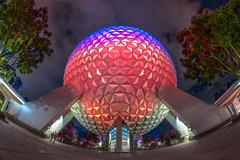 Spaceship Earth Epcot 8mm III (jimisPHOTOS) Tags: di disneyworld waltdisneyworld wdw wideangle wide 8mm color night themepark themeparks orlando florida travel clouds