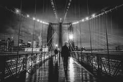 New York Nights - Silhouettes on Brooklyn Bridge (DarrenCowley) Tags: silhouettes monochrome brooklynbridge shadows night clouds icon