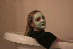 jul1 (gracehogann) Tags: girl lipstick face mask facemask tub mirror bath