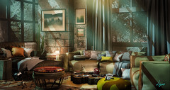 Tranquility in the mountains (NatG loving the light) Tags: collabor88 concept insurrektion kustom9 littlebranch mancave milkmotion mudhoney thor secondlife virtual 3d deco furniture cozy home