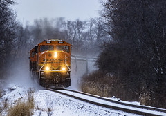 BNSF 288 - Warner- Illinois (backlitkid) Tags: sd75 bnsf288 freight manifest snow trains train bnsf illinois