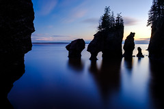 the forces of hopewell (Port View) Tags: hopewellrocks newbrunswick nb canada cans2s 2018 water tide tidal rocks force erosion evening light silhouette shadow reflection smooth clouds trees fujixe3 color colour longexposure le backlight backlit landscape seascape sandstone fundy bayoffundy