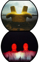 Yellow & Red Twins (pho-Tony) Tags: templates fisheye lomofisheye lomofisheye2 colourflash solution vx200 solutionvx200 c41 tetenal expired lomo lomography fish eye distort bulge wide superwide toy toycamera ishootfilm 35mm 135 analog analogue film pair dyptich diptych verticaldiptych