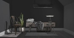 Jack Hanby Interiors; Contemporary Modern Industrial Chic (Jack Hanby -) Tags: industrial modern sleek simple clean interior design second life virtual world pixels light lamp snake chair cobblers bench rug nutmeg kunst fancy decor soy loft aria what next junk dust bunny