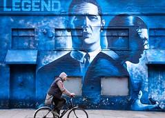 Legend (Gavin Conwill) Tags: london street streetart graffiti shoreditch streetphotography color colour uk gb unitedkingdom greatbritain art advert advertising urban urbanart bicycle cyclist blue legend krays film england