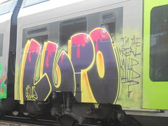 i'm the real wild child (en-ri) Tags: lupo gelo crew gelos giallo rosa viola arrow train torino graffiti writing