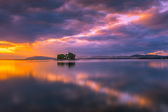 sunset 5538 (junjiaoyama) Tags: japan sunset sky light cloud weather landscape orange purple color lake island water nature winter reflection calm dusk serene